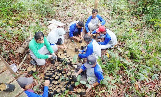 Peserta sedang menyiapkan polibek untuk bibit pohon
