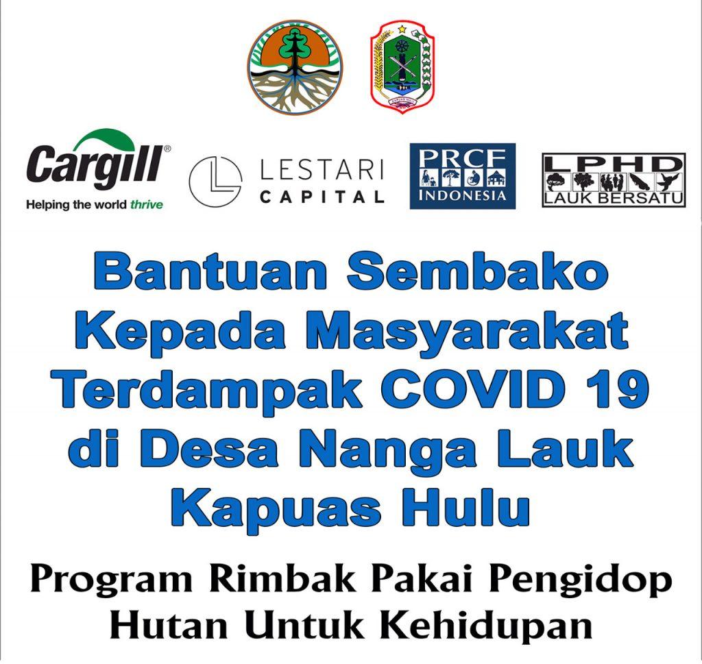Spanduk bantuan sembako dari PRCF Indonesia didukung Cargill dan Lestari Capital